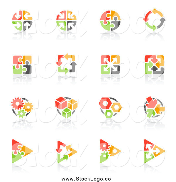 Vector Clipart of a Red, Orange Green and Black Puzzle and Arrow Logos with Reflections