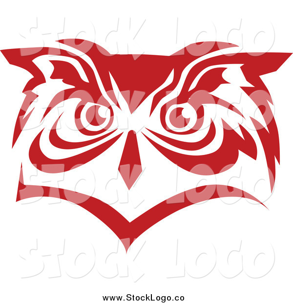 Vector Clipart of a Red Owl Face Logo