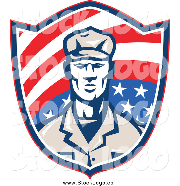 Vector Clipart of a Retro Male American Soldier on an American Flag Shield Logo