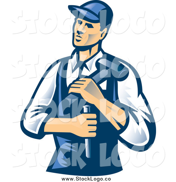 Vector Clipart of a Retro Male Carpenter with a Chisel and Hammer Logo