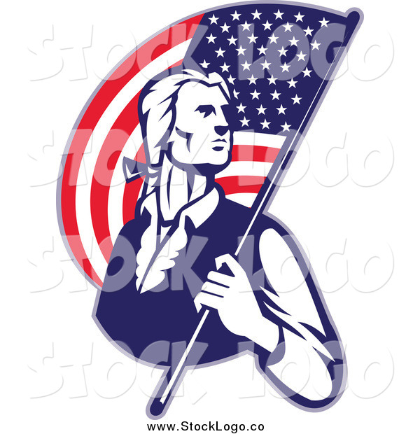 Vector Clipart of a Retro Patriotic Man with an American Flag Logo