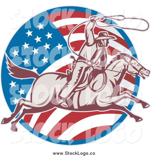 Vector Clipart of a Retro Woodcut American Cowboy Swinging a Lasso and American Flag Logo
