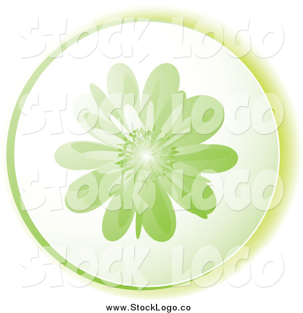 Vector Clipart of a Round Green Flower Logo