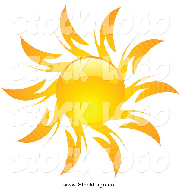 Vector Clipart of a Shiny Hot Summer Sun Logo