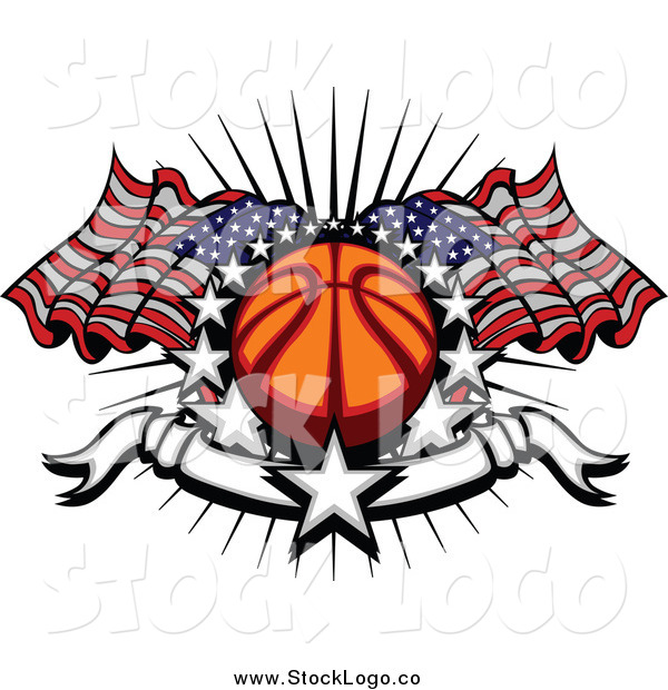 Vector Clipart of a Sports Logo of a Basketball with American Flags Stars and a Blank Banner