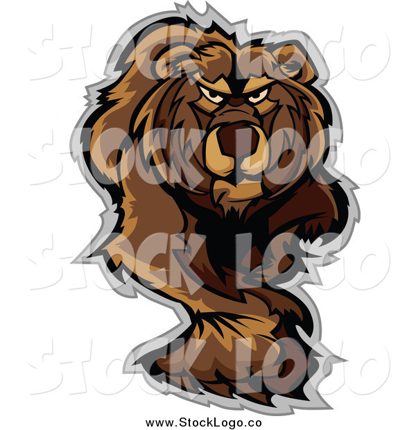 Vector Clipart of a Stalking or Walking Bear Logo