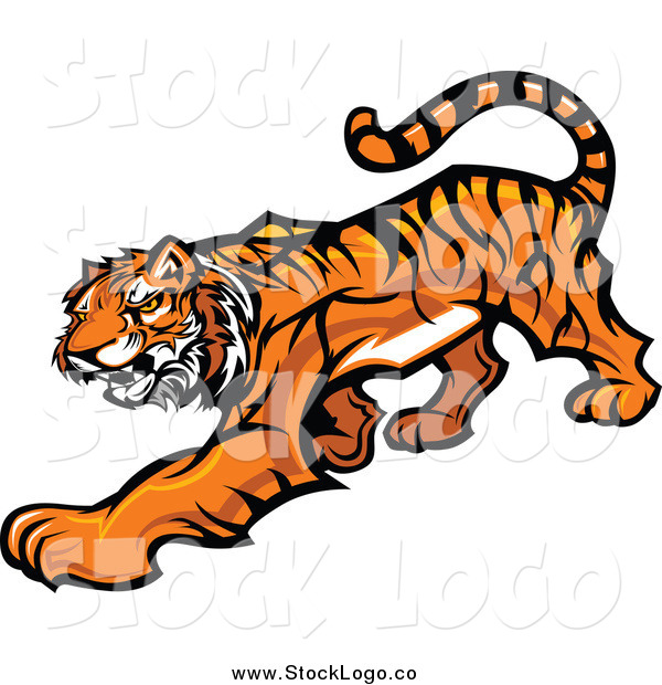 Vector Clipart of a Tiger Stalking Logo