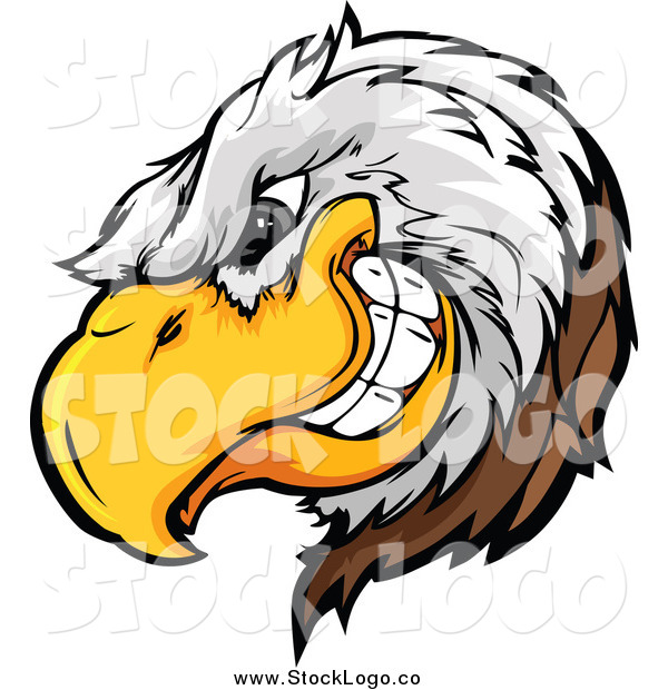 Vector Clipart of a Tough Bald Eagle Mascot Logo