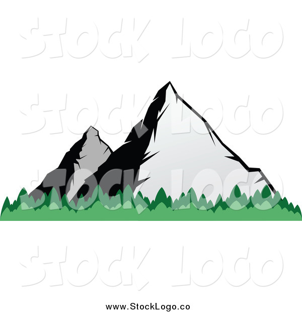 Vector Clipart of a Two Mountains and Tree Tops Logo