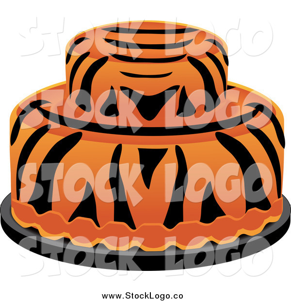 Vector Clipart of a Two Tiered Tiger Striped Cake