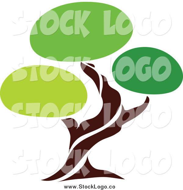 Vector Clipart of a Unique Green Tree Logo