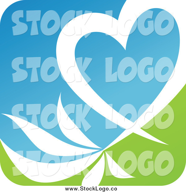 Vector Clipart of a White Heart and Leaves over Green and Blue Logo