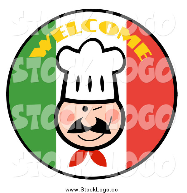 Vector Clipart of a Winking Chef over a Welcome Italian Flag Circle