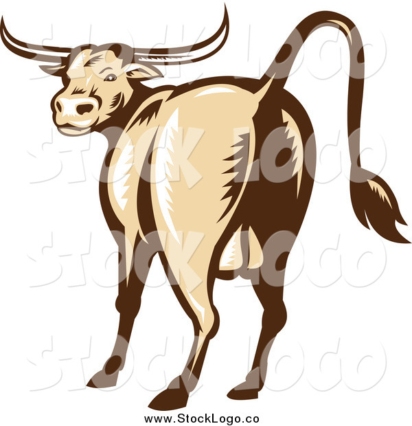 Vector Clipart of a Woodcut Texas Longhorn Bull Logo
