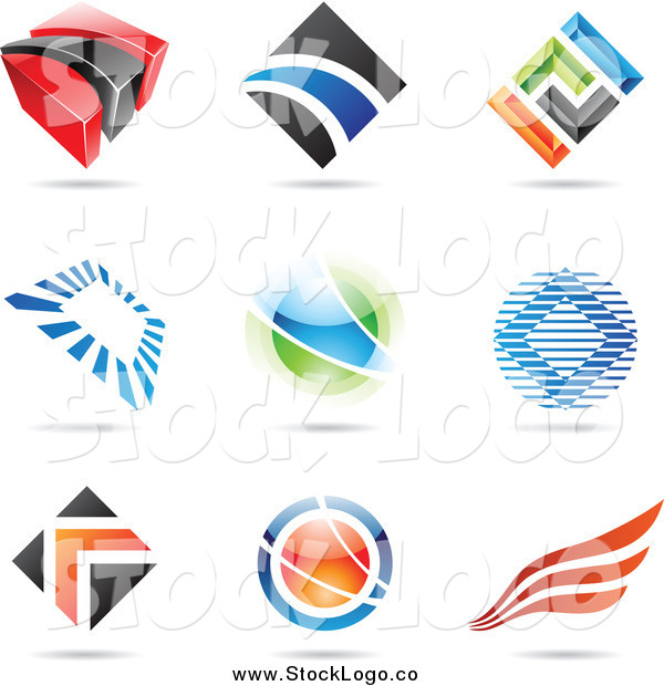 Vector Clipart of Abstract Diamond, Orb and Wing Logos
