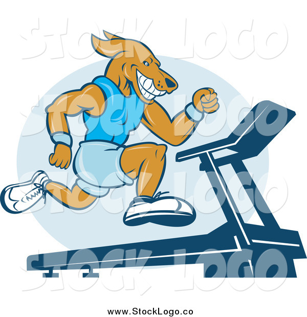 Vector Clipart of an Athletic Dog Sprinting on a Treadmill