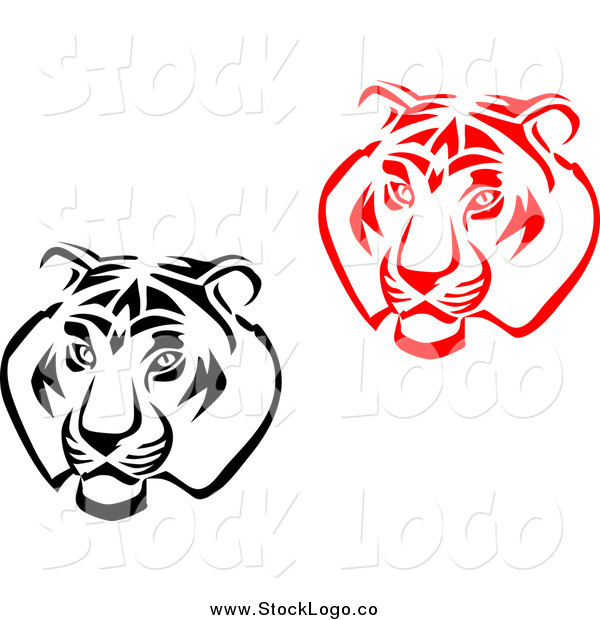 Vector Clipart of Black and White and Red Tiger Head Logos