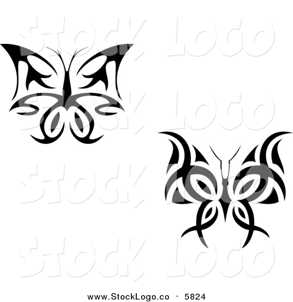 Vector Clipart of Black and White Butterfly Logos