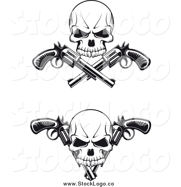 Vector Clipart of Black and White Skulls and Crossed Revolvers Logos
