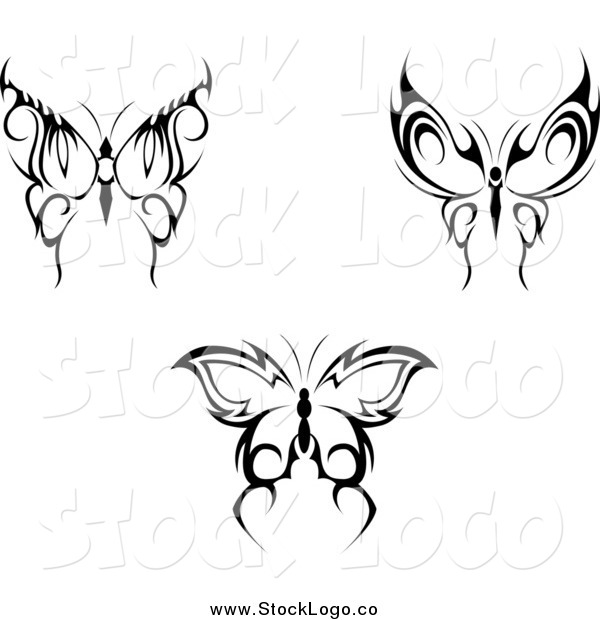 Vector Clipart of Black Tribal Butterflies Nature Logos