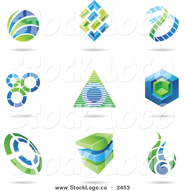 Vector Clipart of Blue and Green Logos with Shadows