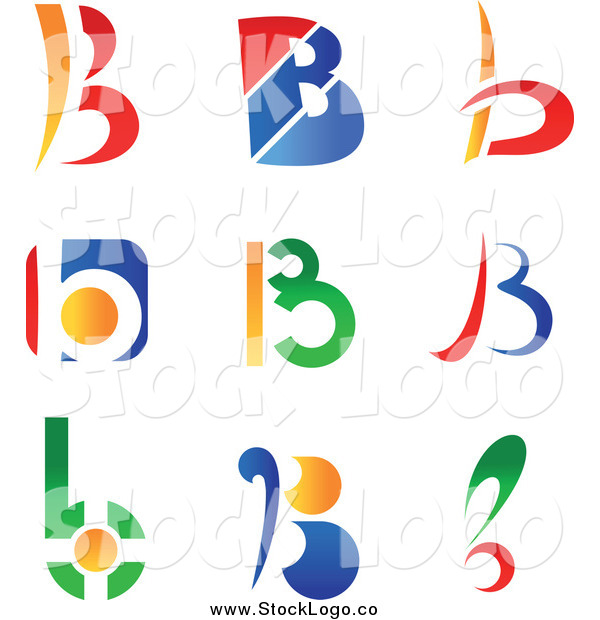 Vector Clipart of Colorful Letter B Abstract Logos