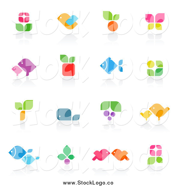 Vector Clipart of Floral and Animal Logos