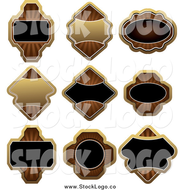 Vector Clipart of Gold Brown and Black Label Logos