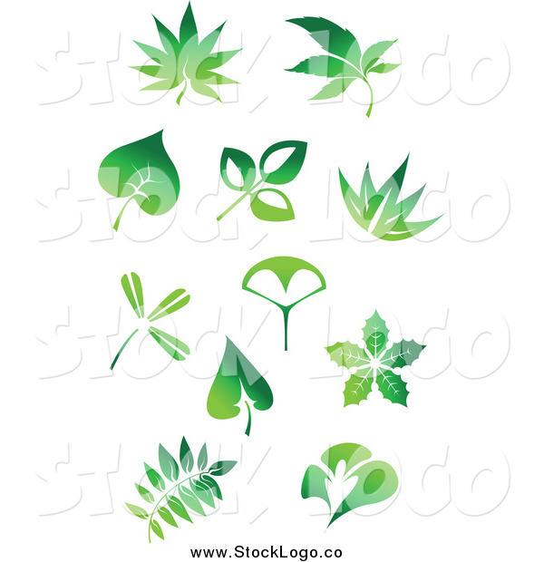 Vector Clipart of Green Leaf Logos