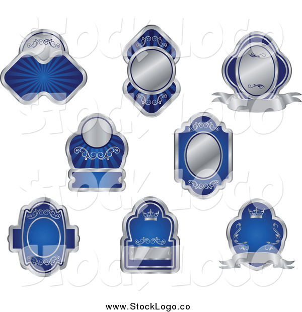 Vector Clipart of Logos of Blank Silver and Blue Labels