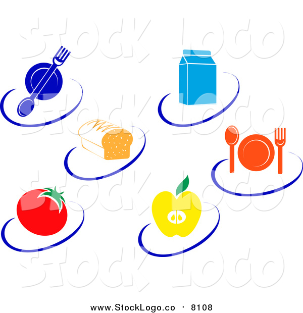 Vector Clipart of Nutrition Logos of Food Items and Swooshes