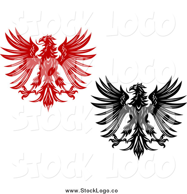 Vector Clipart of Red and Black and White Heraldic Eagle Logos