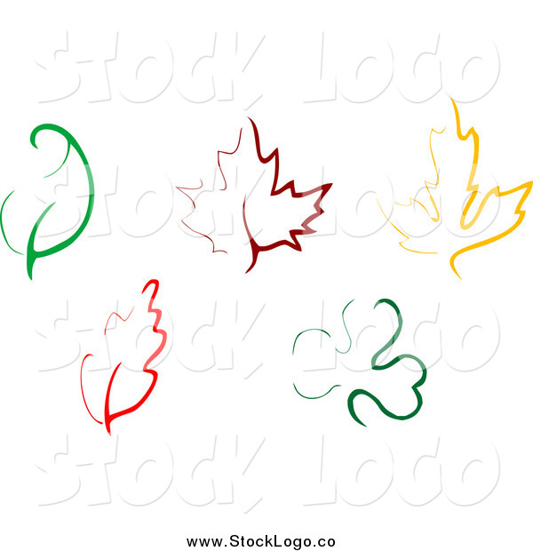 Vector Clipart of Simple Colorful Leaf Designs