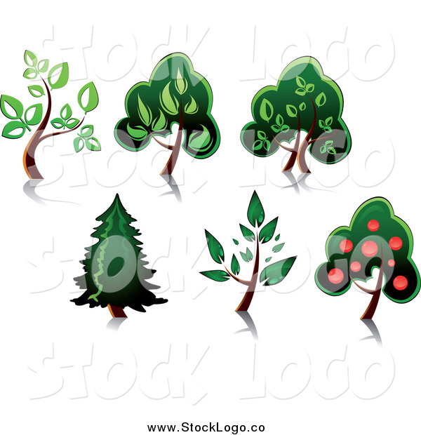 Vector Clipart of Trees