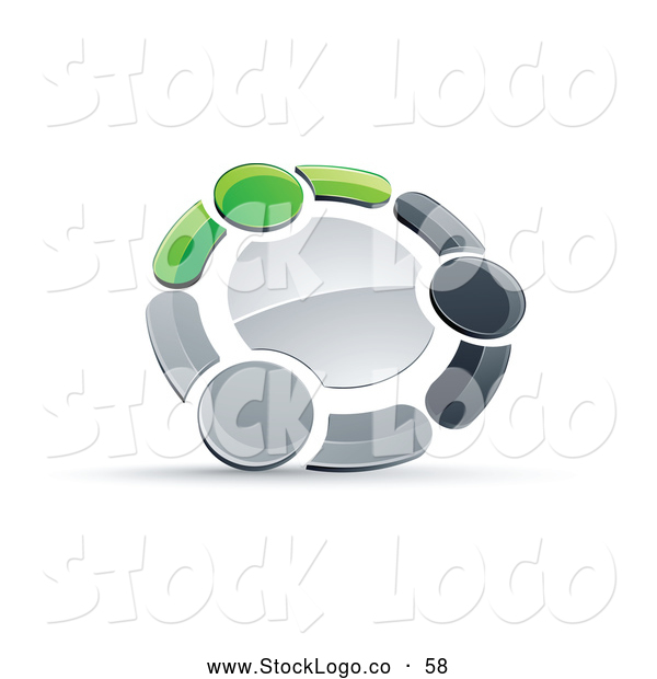 Vector Logo of a 3d Circle of Three Green, Gray and Black People Holding Hands