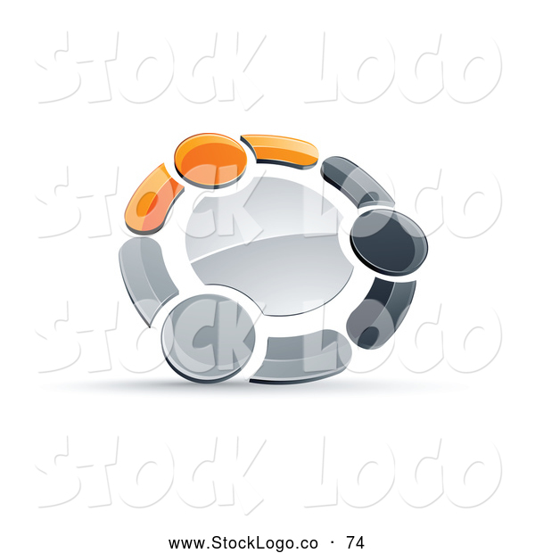 Vector Logo of a 3d Circle of Three Orange, Gray and Black People Holding Hands