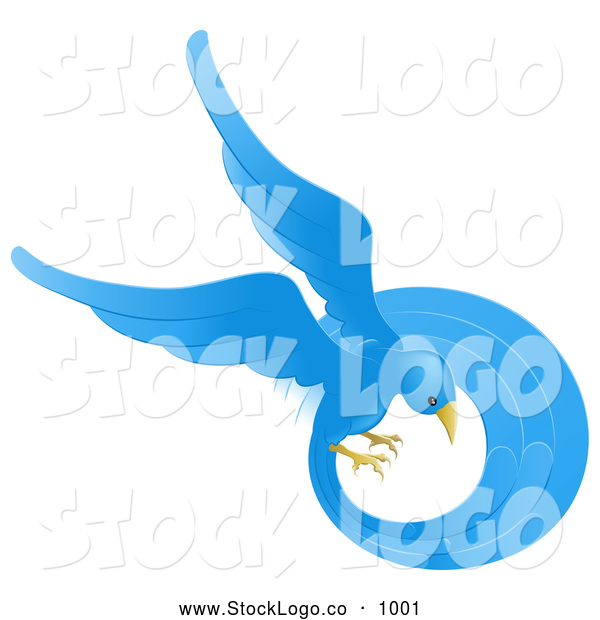 Vector Logo of a Beautiful Circling Blue Bird with a Long Feathered Tail on White