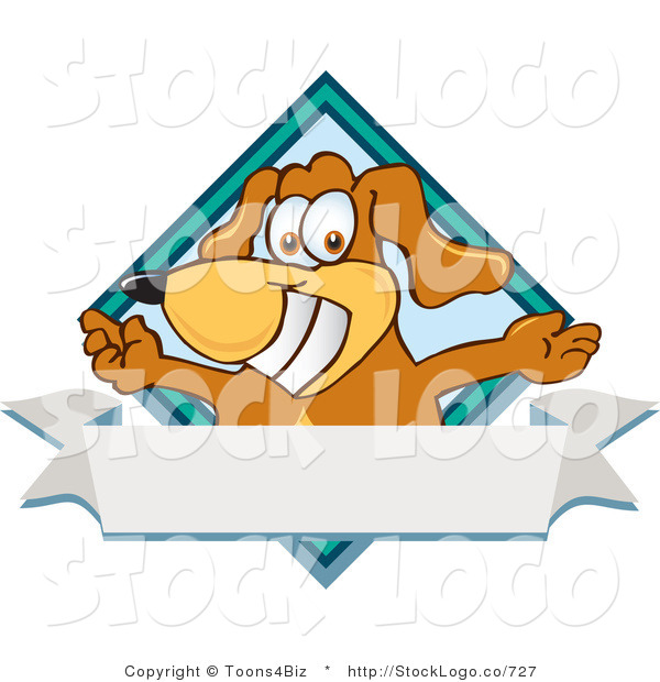 Vector Logo of a Brown Dog Mascot Cartoon Character with Open Arms over a Blank White Label and Blue Diamond