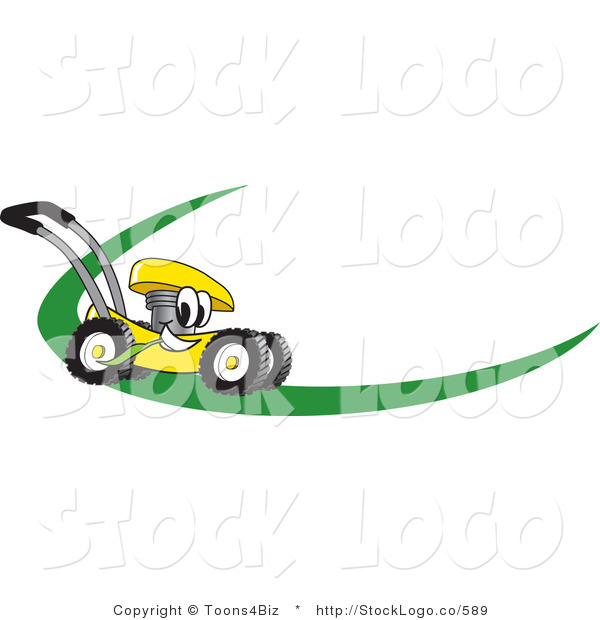 Vector Logo of a Cartoon Yellow Lawn Mower Mascot Cartoon Character on a Logo or Nametag with a Green Dash