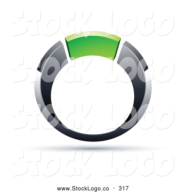 Vector Logo of a Chrome and Green Ring on White