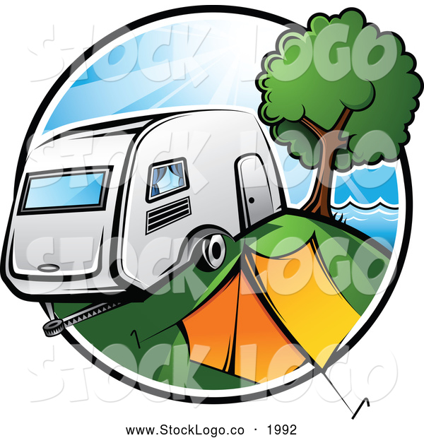 Vector Logo of a Colorful Badge Featuring a Retro Camper Parked by a Tent and Tree in a Camp Ground