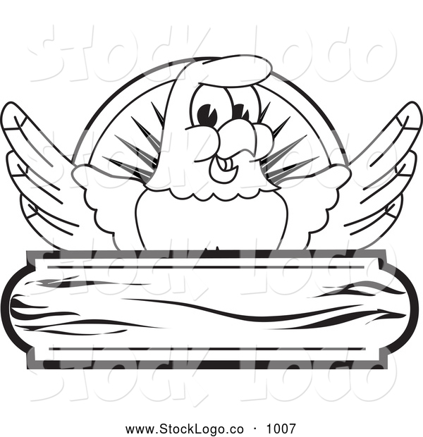Vector Logo of a Coloring Page of a Bald Eagle Hawk or Falcon Wooden Logo Outline
