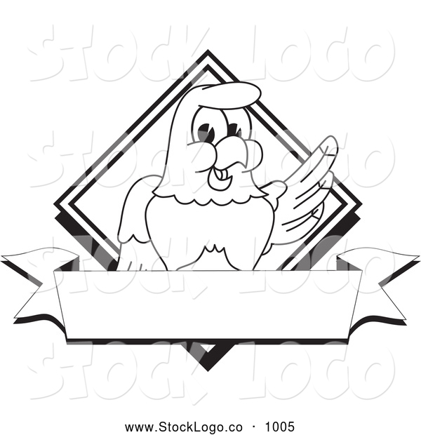 Vector Logo of a Coloring Page of a Cute Bald Eagle Hawk or Falcon Diamond Banner Logo Outline