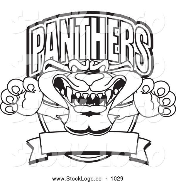 Vector Logo of a Coloring Page of a Panther Character Mascot Logo