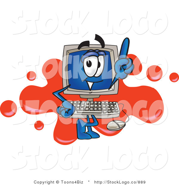 Vector Logo of a Desktop Computer Mascot Cartoon Character Standing in Front of a Red Paint Splatter Background