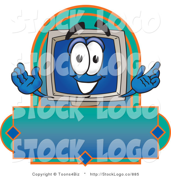 Vector Logo of a Desktop Computer Monitor Mascot Cartoon Character on a Blank Blue Label