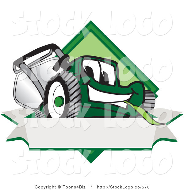 Vector Logo of a Friendly Green Lawn Mower Mascot Cartoon Character on a Blank Label