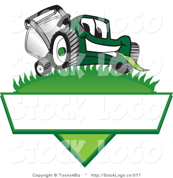 Vector Logo of a Friendly Green Lawn Mower Mascot Cartoon Character on a Logo