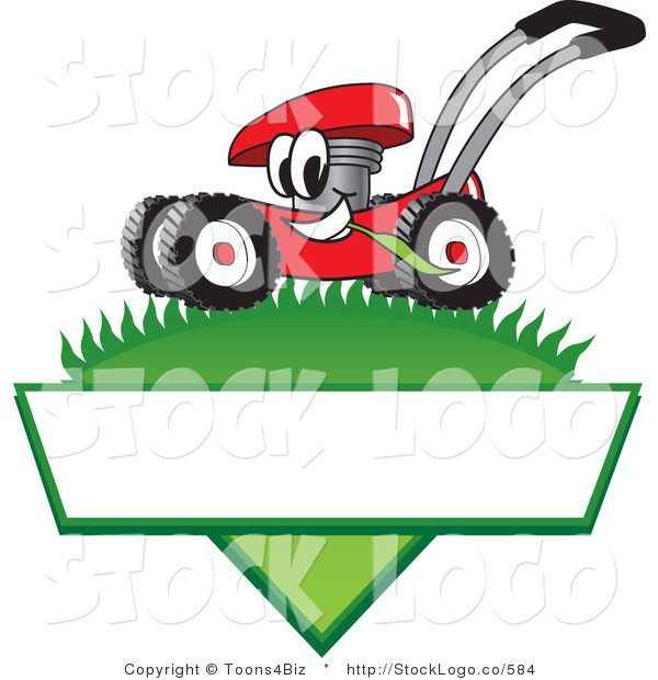 Vector Logo of a Friendly Red Lawn Mower Mascot Cartoon Character Mowing Grass over a Blank White Label