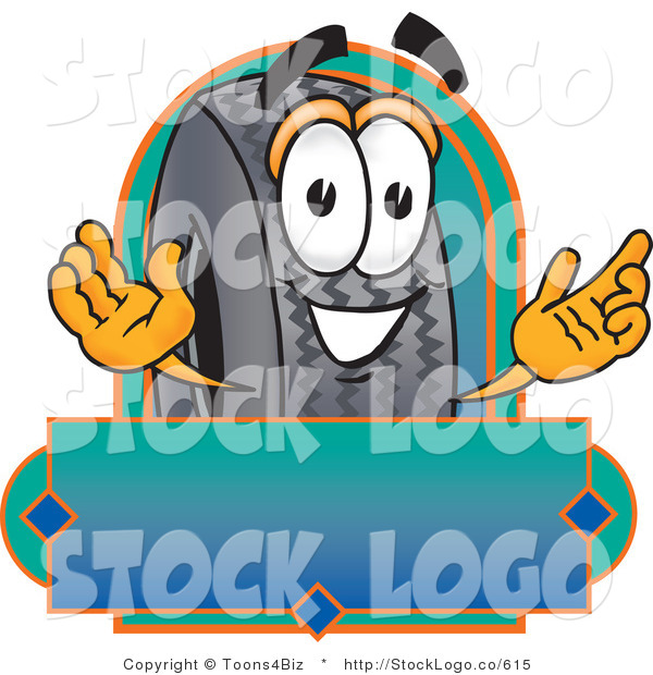 Vector Logo of a Friendly Rubber Tire Mascot Cartoon Character with a Blank Label